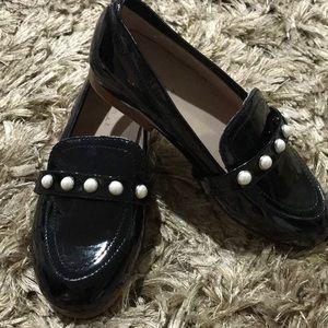 Zara Girls Black Patent Faux Pearl Loafers